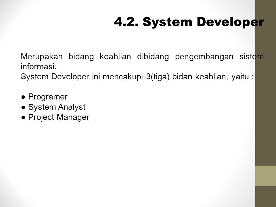 4.2. System Developer Merupakan bidang keahlian dibidang pengembangan sistem informasi.