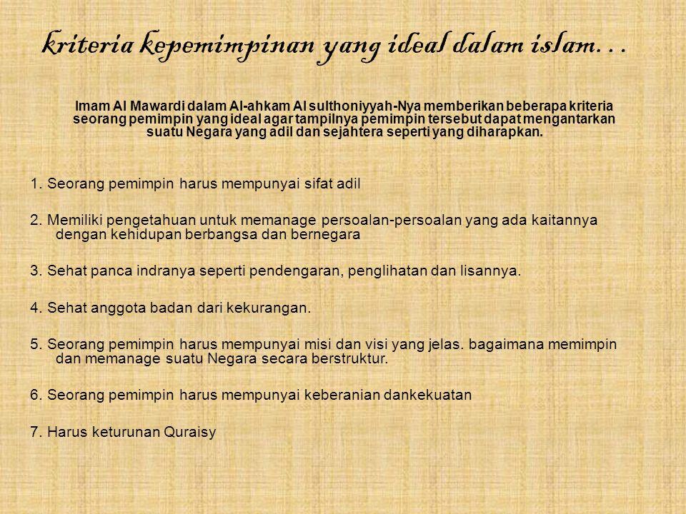 kriteria kepemimpinan yang ideal dalam islam…