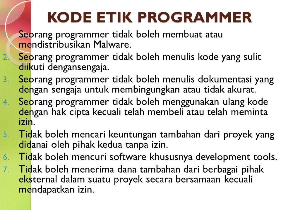 KODE ETIK PROGRAMMER Seorang programmer tidak boleh membuat atau mendistribusikan Malware.