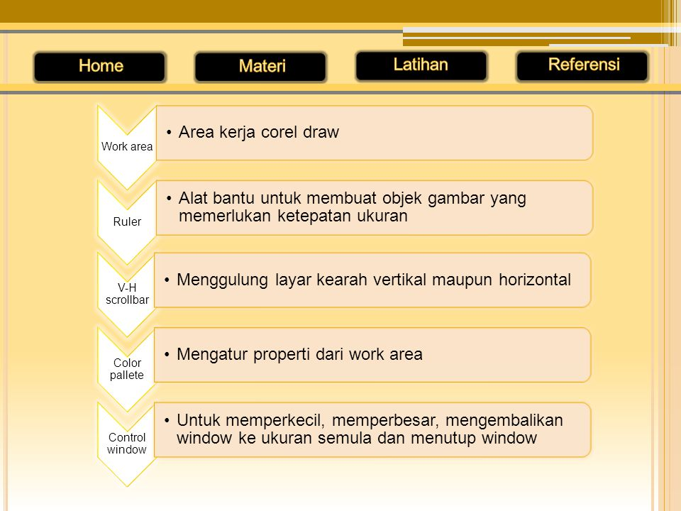 Area kerja corel draw Work area Ruler