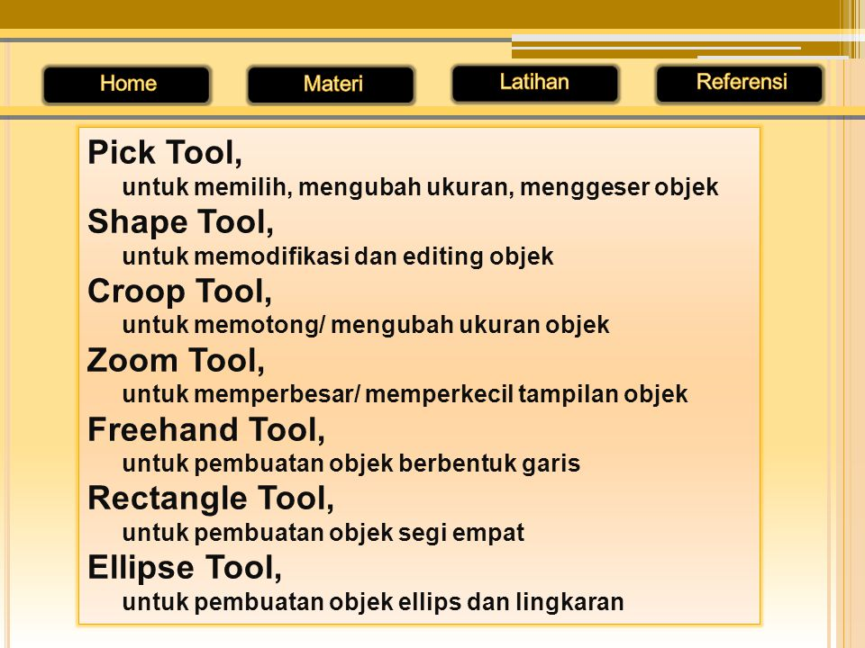 Pick Tool, Shape Tool, Croop Tool, Zoom Tool, Freehand Tool,