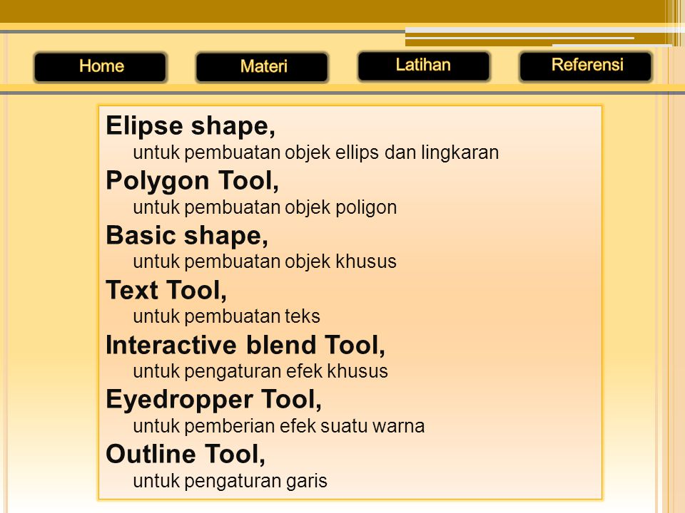 Interactive blend Tool, Eyedropper Tool, Outline Tool,
