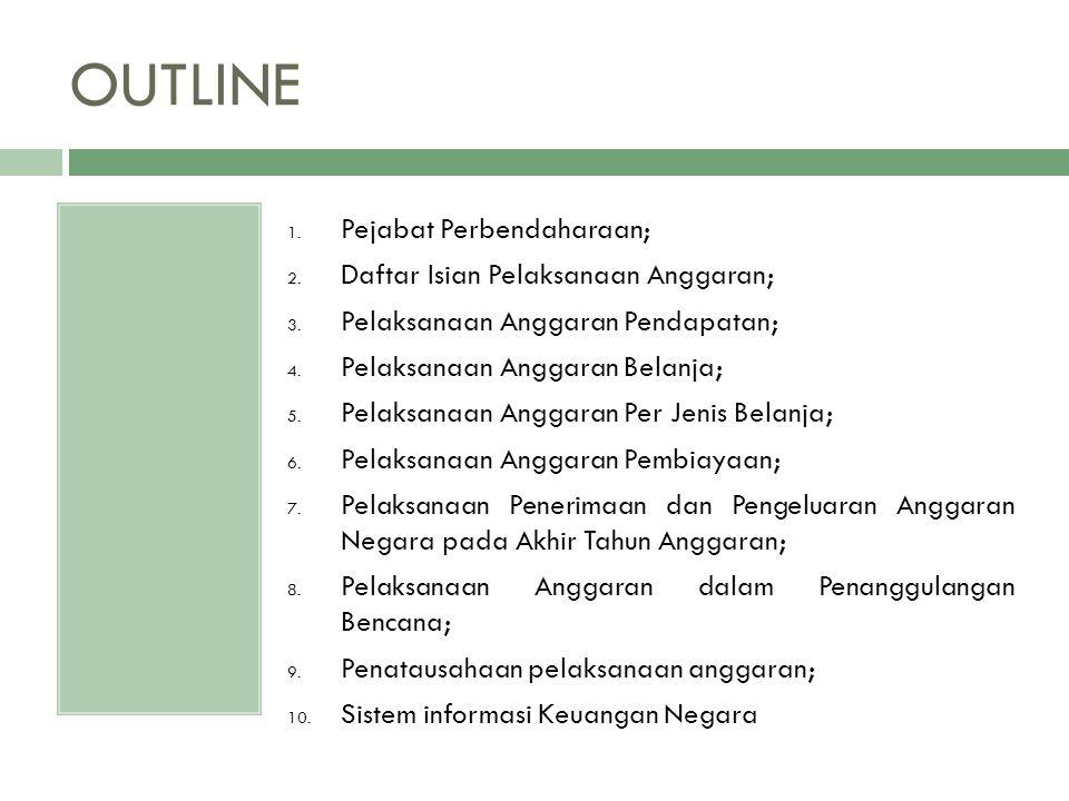 OUTLINE Pejabat Perbendaharaan; Daftar Isian Pelaksanaan Anggaran;