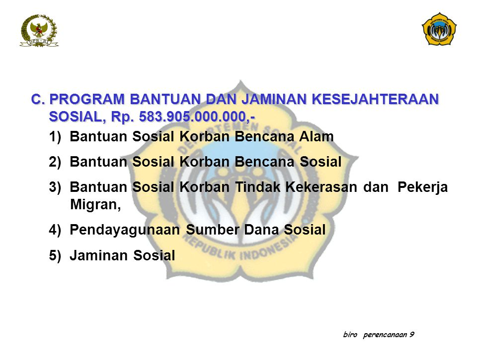 1) Bantuan Sosial Korban Bencana Alam