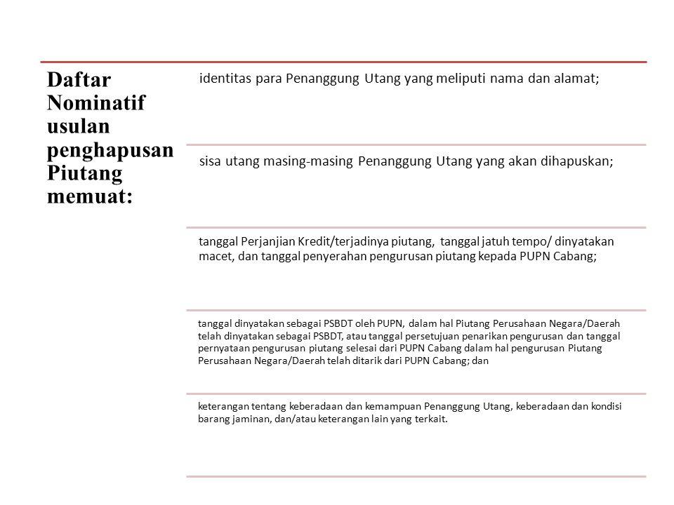 Daftar Nominatif usulan penghapusan Piutang memuat: