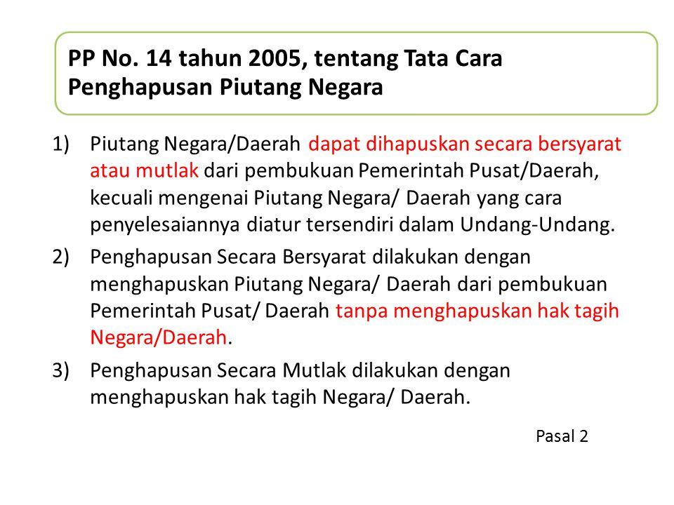 PP No. 14 tahun 2005, tentang Tata Cara Penghapusan Piutang Negara