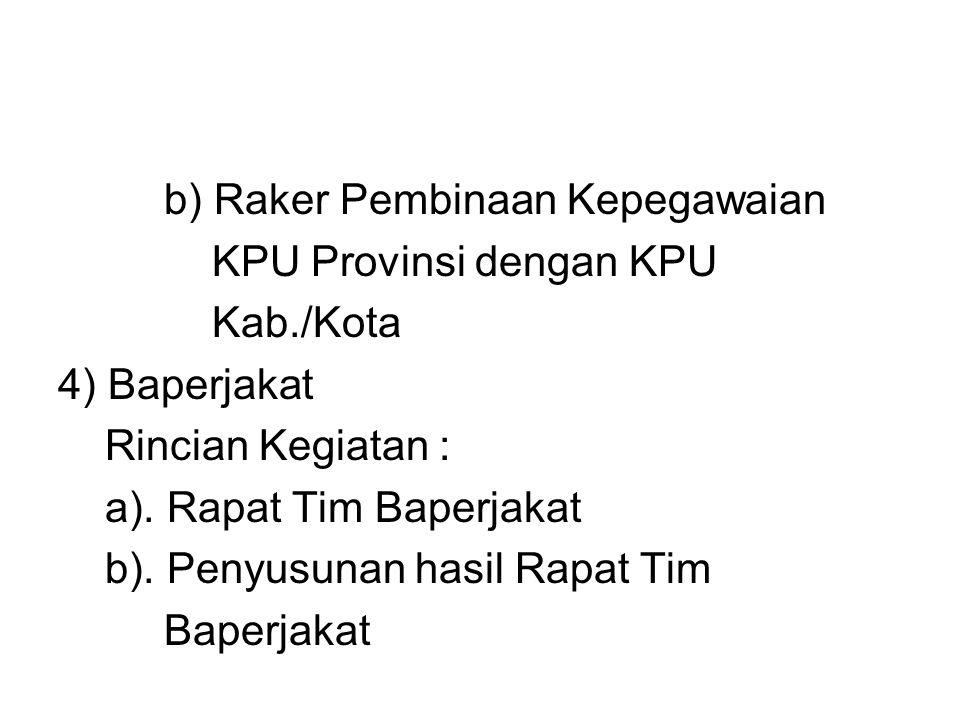 b) Raker Pembinaan Kepegawaian KPU Provinsi dengan KPU Kab