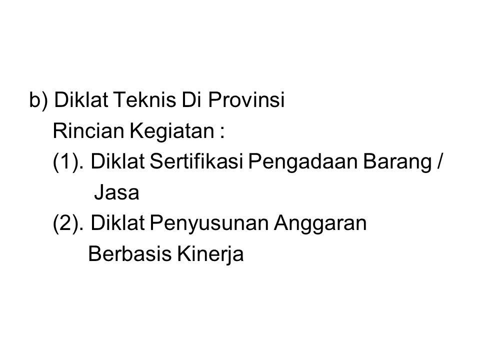 b) Diklat Teknis Di Provinsi Rincian Kegiatan : (1)