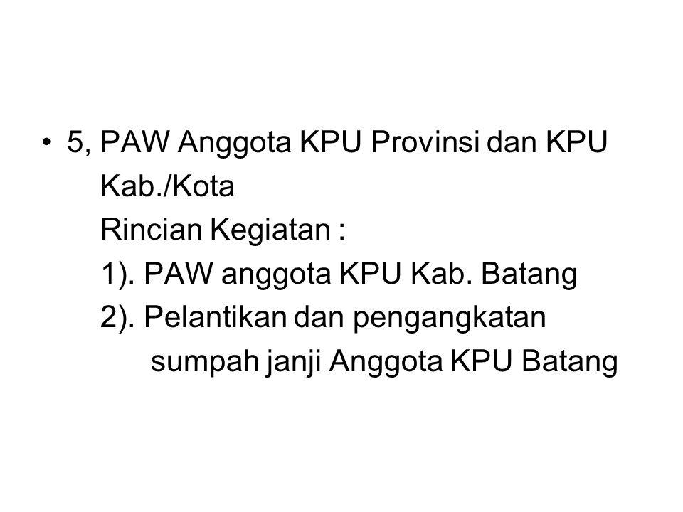 5, PAW Anggota KPU Provinsi dan KPU