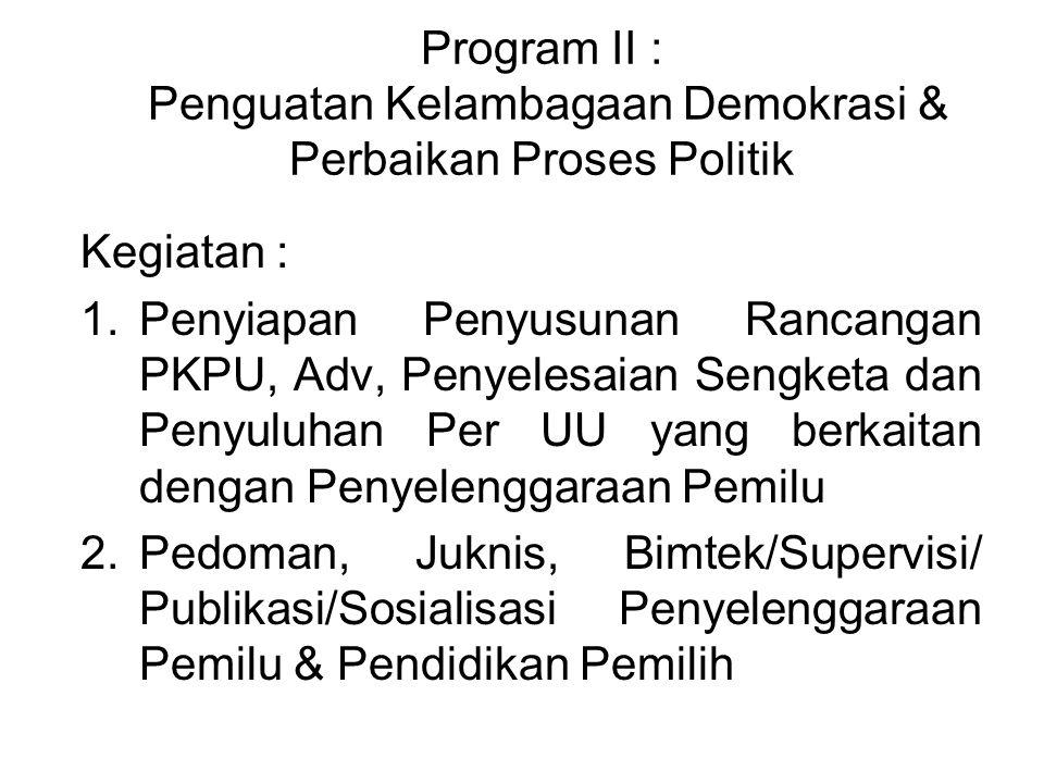 Program II : Penguatan Kelambagaan Demokrasi & Perbaikan Proses Politik