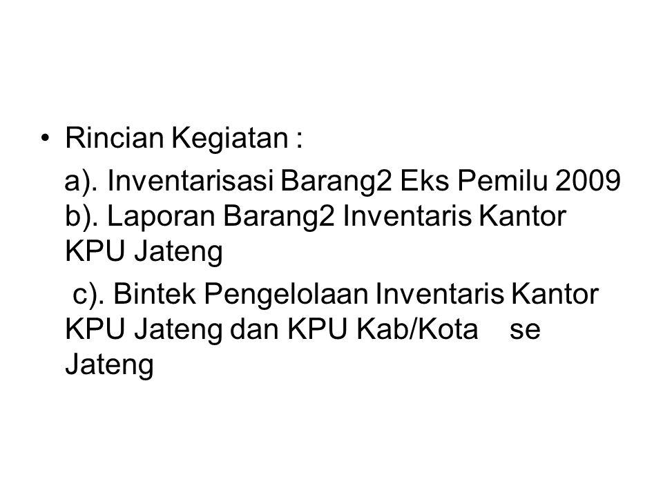 Rincian Kegiatan : a). Inventarisasi Barang2 Eks Pemilu 2009 b). Laporan Barang2 Inventaris Kantor KPU Jateng.