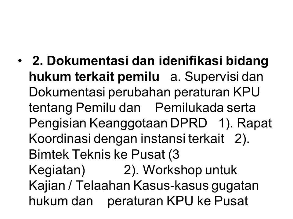2. Dokumentasi dan idenifikasi bidang hukum terkait pemilu a