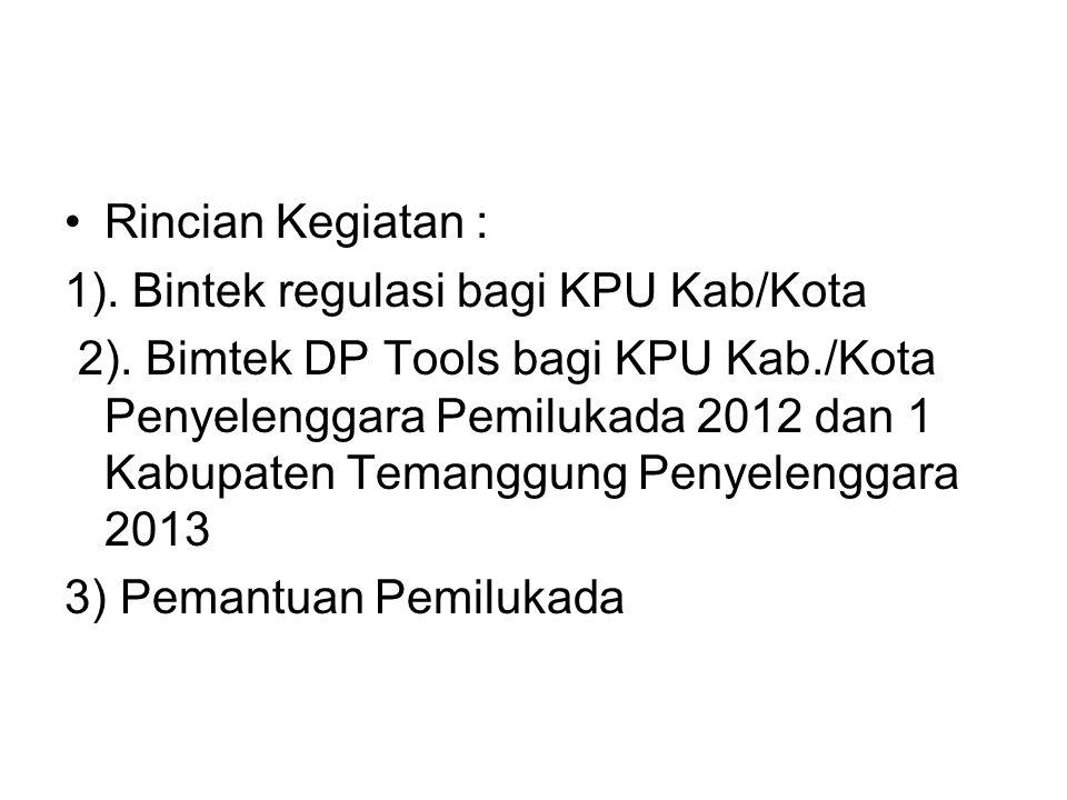 Rincian Kegiatan : 1). Bintek regulasi bagi KPU Kab/Kota
