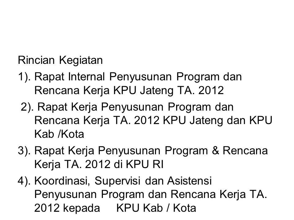 Rincian Kegiatan 1). Rapat Internal Penyusunan Program dan Rencana Kerja KPU Jateng TA. 2012