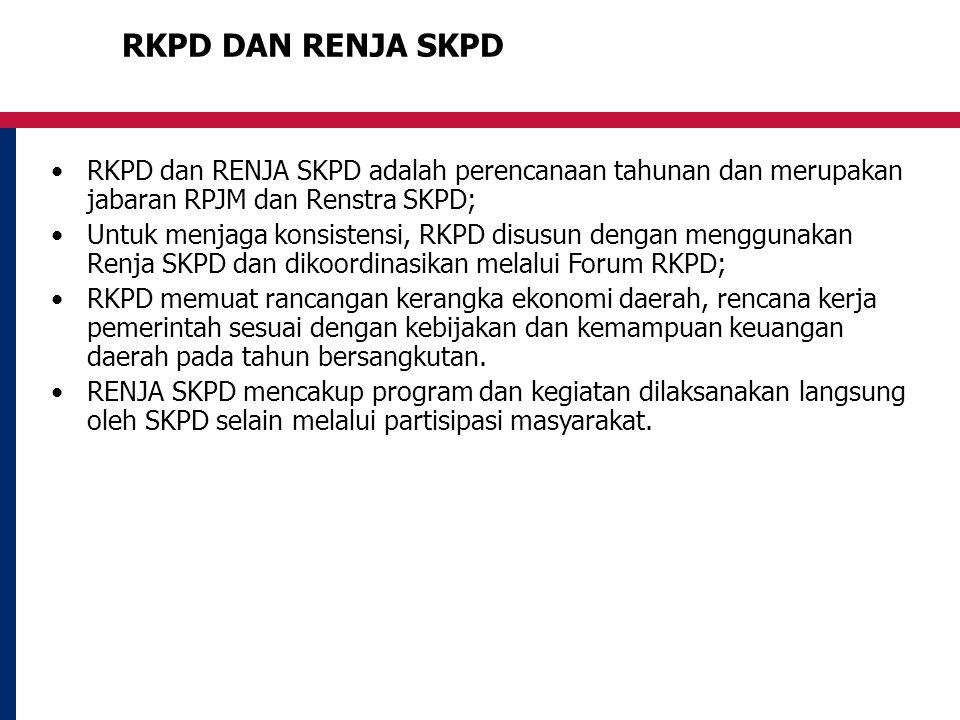 RKPD DAN RENJA SKPD RKPD dan RENJA SKPD adalah perencanaan tahunan dan merupakan jabaran RPJM dan Renstra SKPD;
