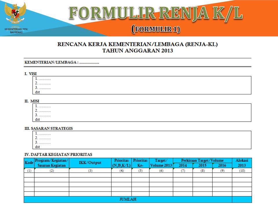 FORMULIR RENJA K/L (Formulir 1)