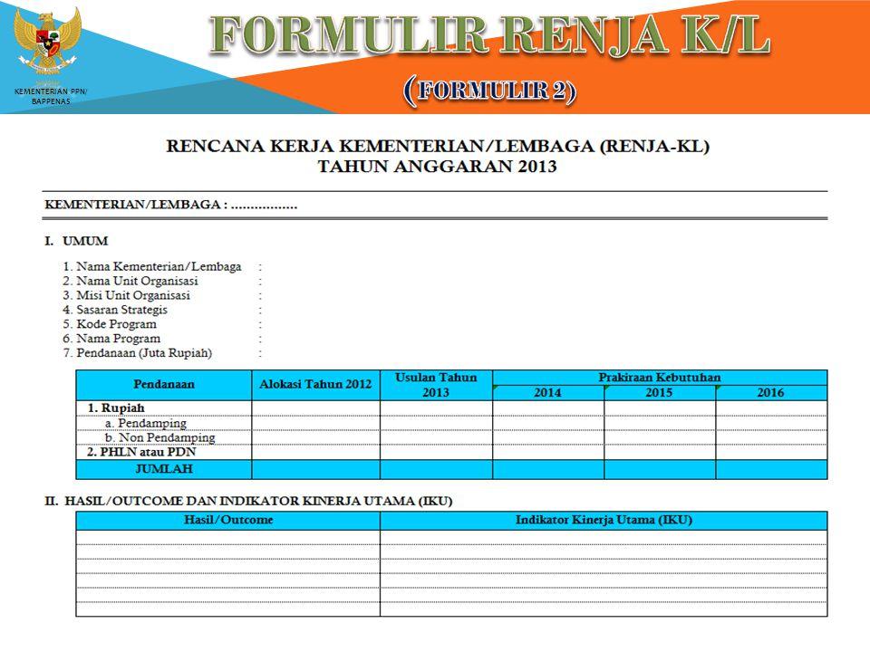 FORMULIR RENJA K/L (Formulir 2)
