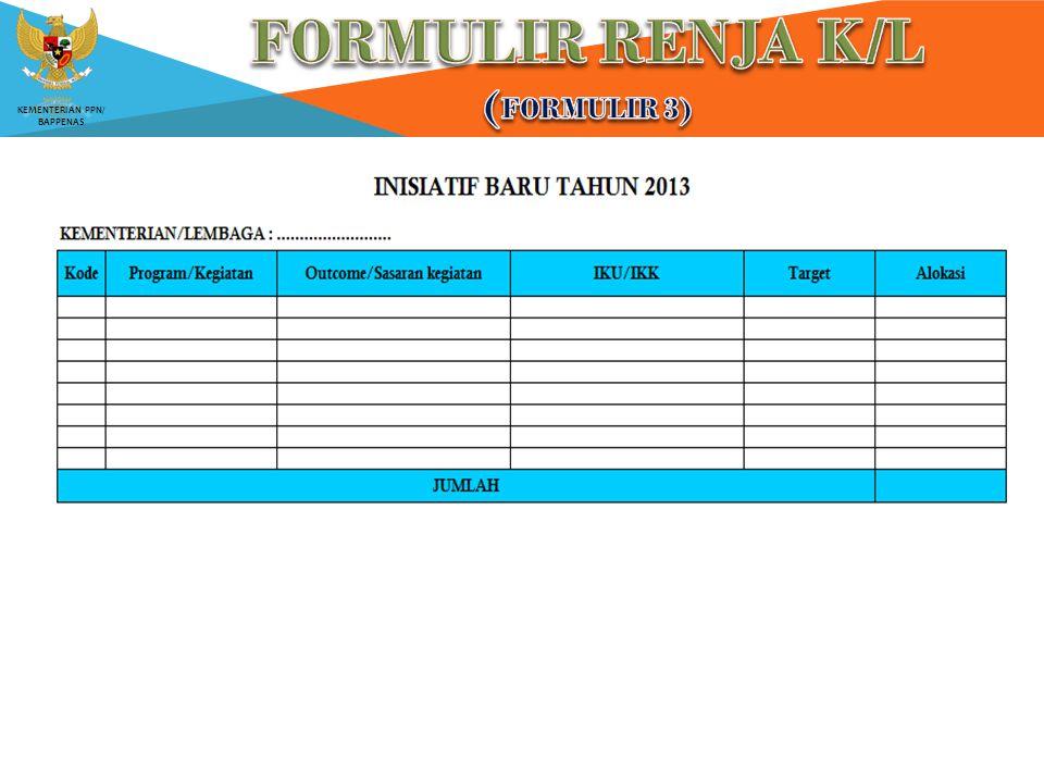 FORMULIR RENJA K/L (Formulir 3)