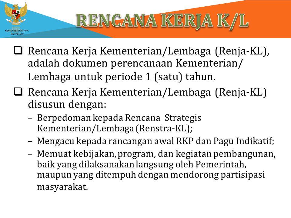 RENCANA KERJA K/L Rencana Kerja Kementerian/Lembaga (Renja-KL), adalah dokumen perencanaan Kementerian/ Lembaga untuk periode 1 (satu) tahun.