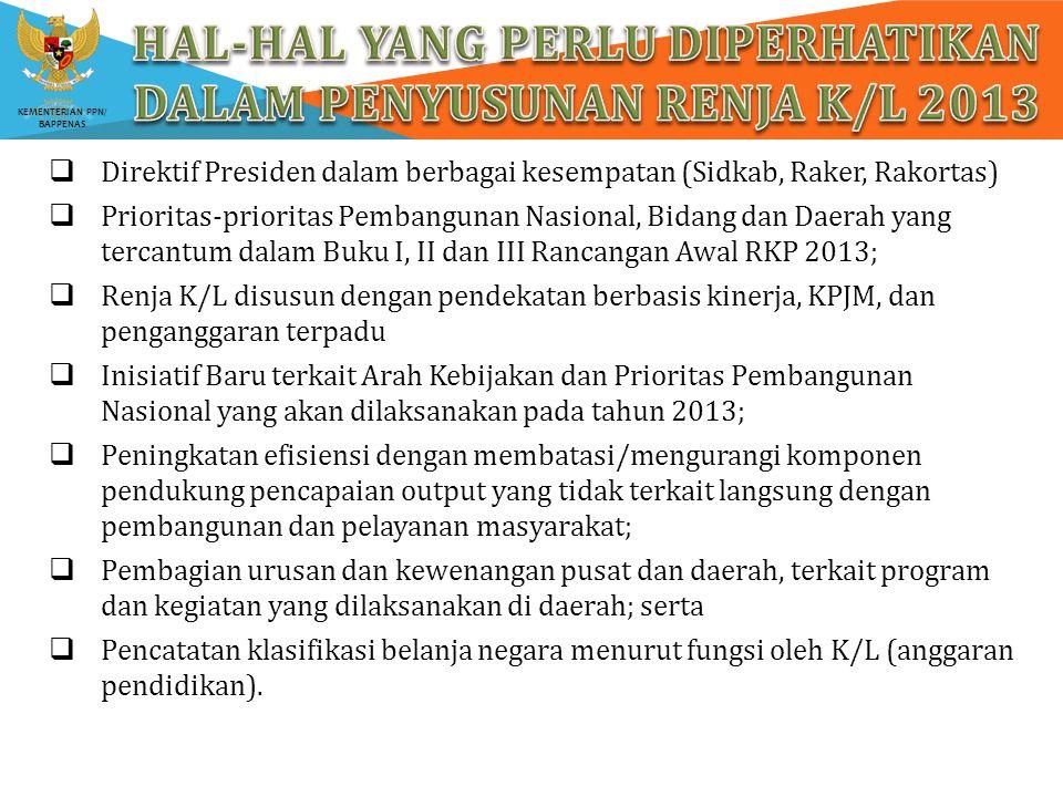 Hal-hal yang perlu diperhatikan dalam penyusunan renja k/l 2013