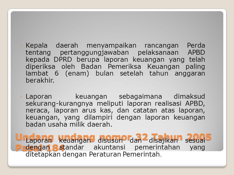 Undang undang nomor 32 Tahun 2005 Pasal 184