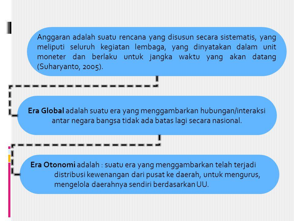 Anggaran adalah suatu rencana yang disusun secara sistematis, yang meliputi seluruh kegiatan lembaga, yang dinyatakan dalam unit moneter dan berlaku untuk jangka waktu yang akan datang (Suharyanto, 2005).