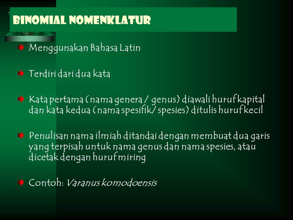 Binomial Nomenklatur Menggunakan Bahasa Latin Terdiri dari dua kata