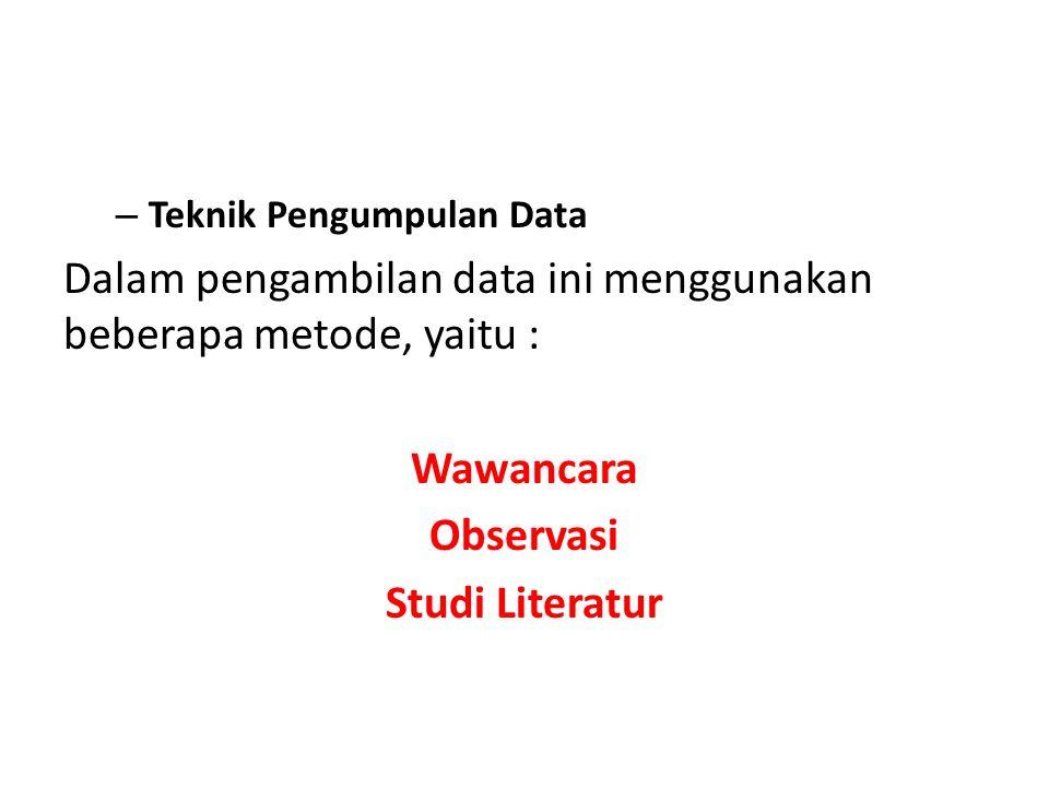 Wawancara Observasi Studi Literatur
