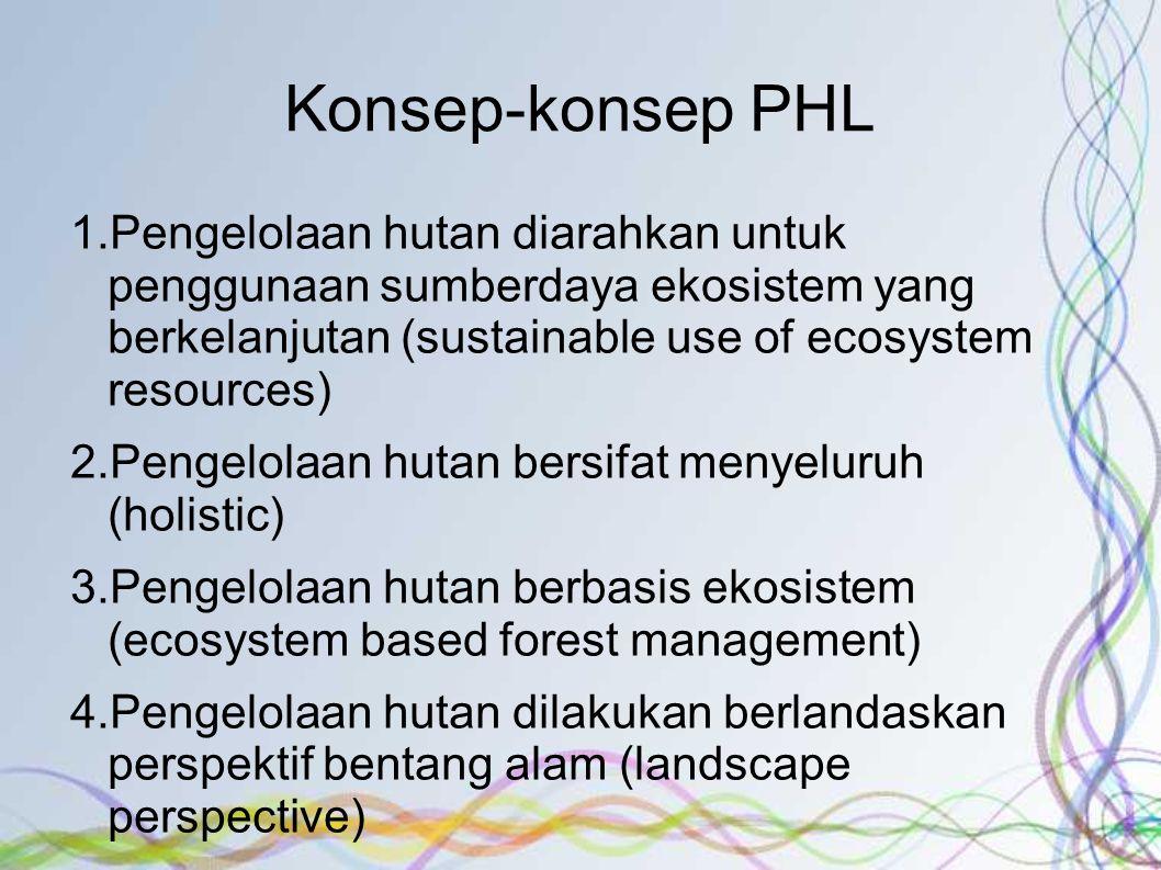 Konsep-konsep PHL Pengelolaan hutan diarahkan untuk penggunaan sumberdaya ekosistem yang berkelanjutan (sustainable use of ecosystem resources)