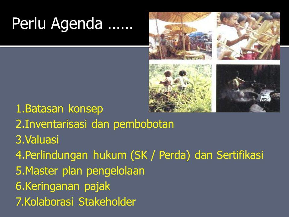 Perlu Agenda …… 1.Batasan konsep 2.Inventarisasi dan pembobotan