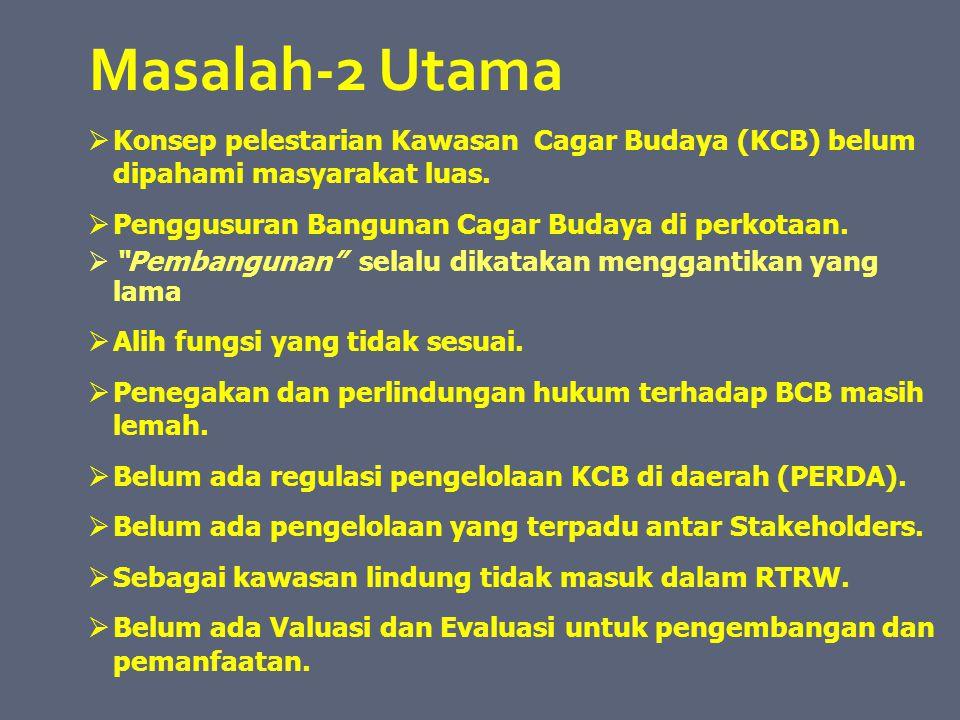 Masalah-2 Utama Konsep pelestarian Kawasan Cagar Budaya (KCB) belum dipahami masyarakat luas. Penggusuran Bangunan Cagar Budaya di perkotaan.