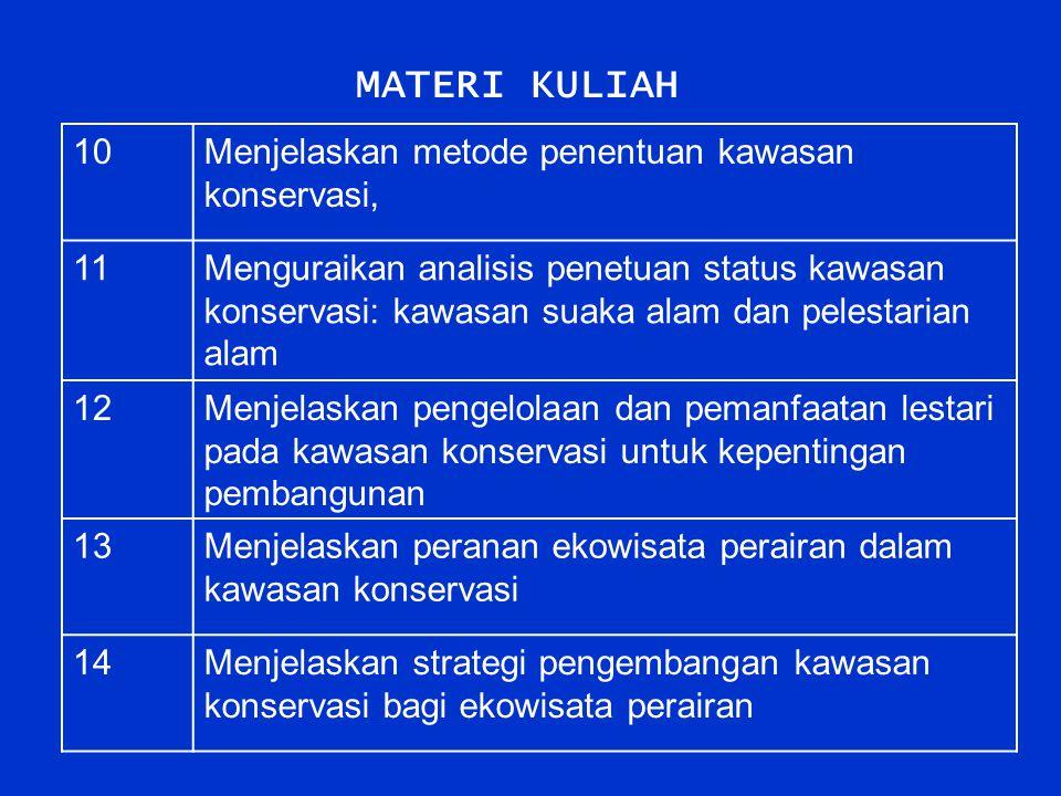 MATERI KULIAH 10 Menjelaskan metode penentuan kawasan konservasi, 11