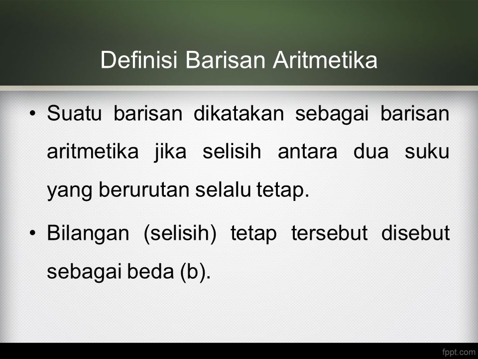 Definisi Barisan Aritmetika