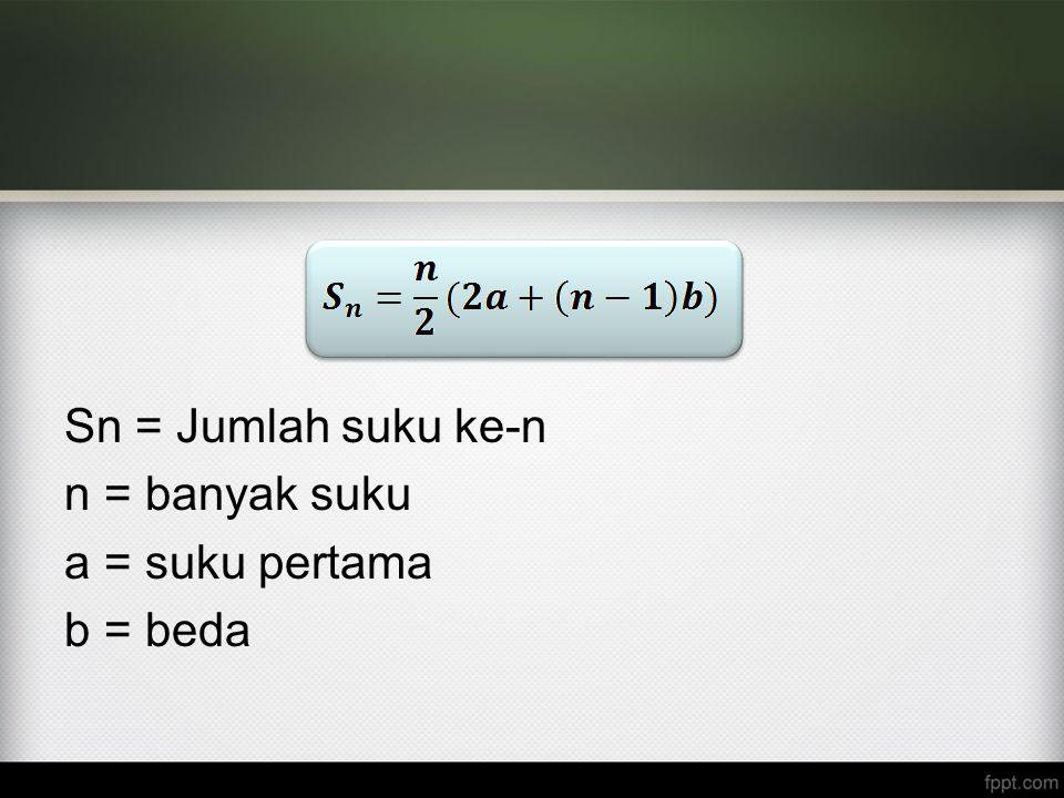 Sn = Jumlah suku ke-n n = banyak suku a = suku pertama b = beda