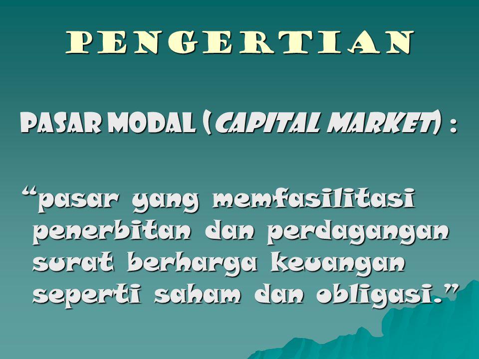 PENGERTIAN Pasar Modal (CAPITAL MARKET) :