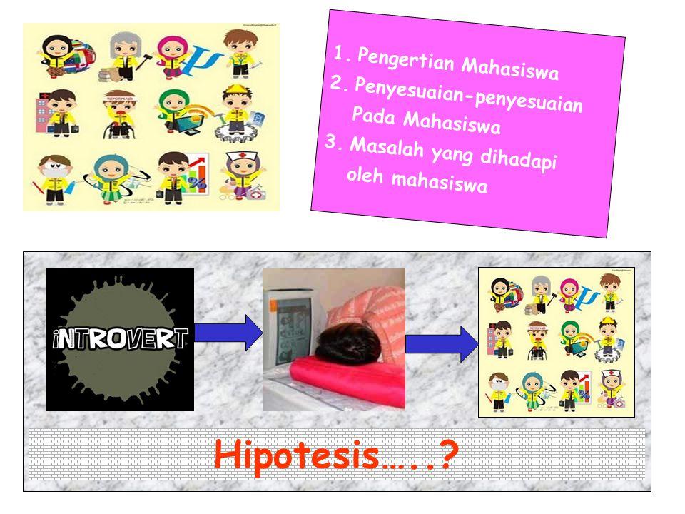 Hipotesis….. Pengertian Mahasiswa Penyesuaian-penyesuaian