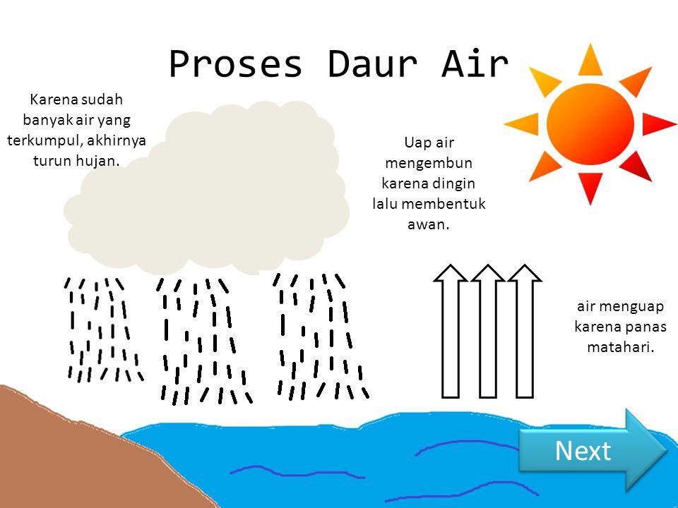 Proses Daur Air Karena sudah banyak air yang terkumpul, akhirnya turun hujan. Uap air mengembun karena dingin lalu membentuk awan.