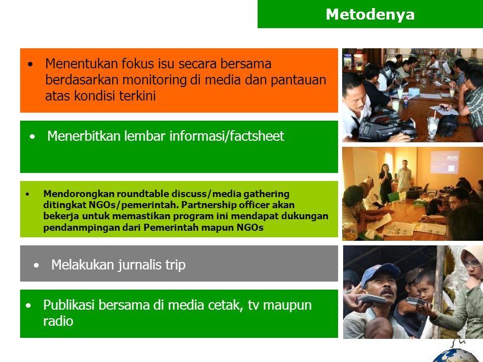 Metodenya Menentukan fokus isu secara bersama berdasarkan monitoring di media dan pantauan atas kondisi terkini.
