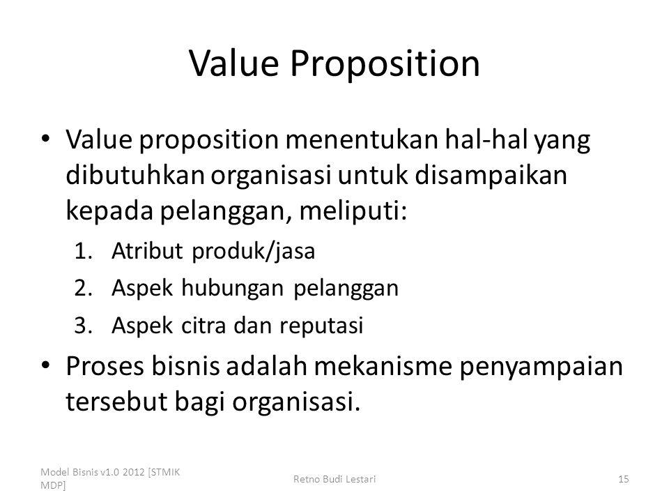Value Proposition Value proposition menentukan hal-hal yang dibutuhkan organisasi untuk disampaikan kepada pelanggan, meliputi: