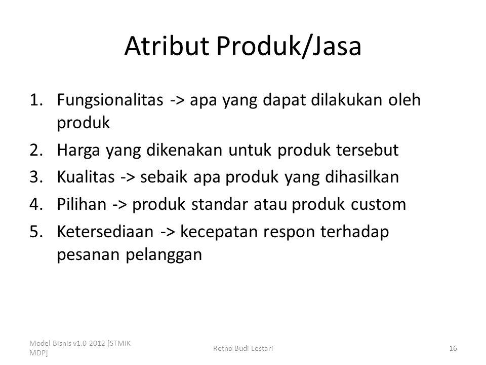 Atribut Produk/Jasa Fungsionalitas -> apa yang dapat dilakukan oleh produk. Harga yang dikenakan untuk produk tersebut.