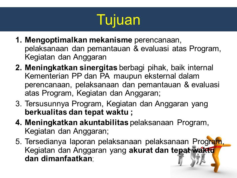 Tujuan Mengoptimalkan mekanisme perencanaan, pelaksanaan dan pemantauan & evaluasi atas Program, Kegiatan dan Anggaran.