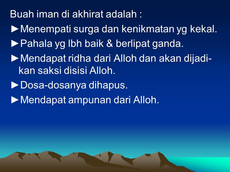 Buah iman di akhirat adalah :