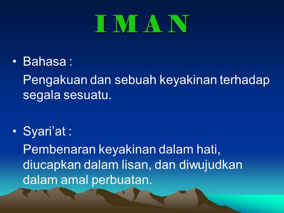 I M A N Bahasa : Pengakuan dan sebuah keyakinan terhadap segala sesuatu. Syari'at :