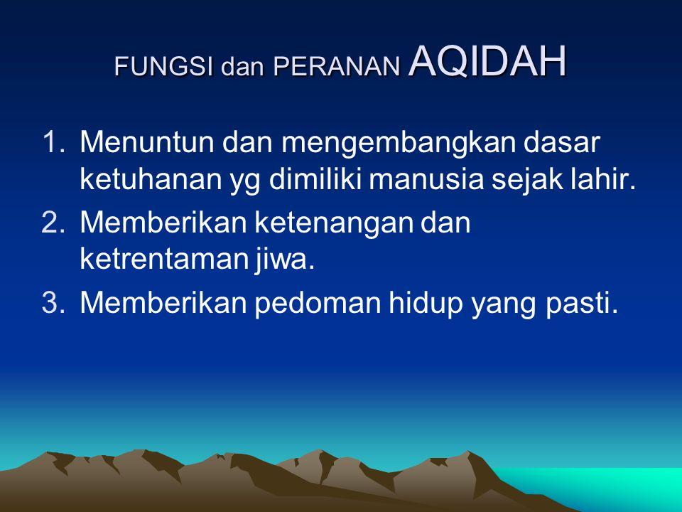 FUNGSI dan PERANAN AQIDAH