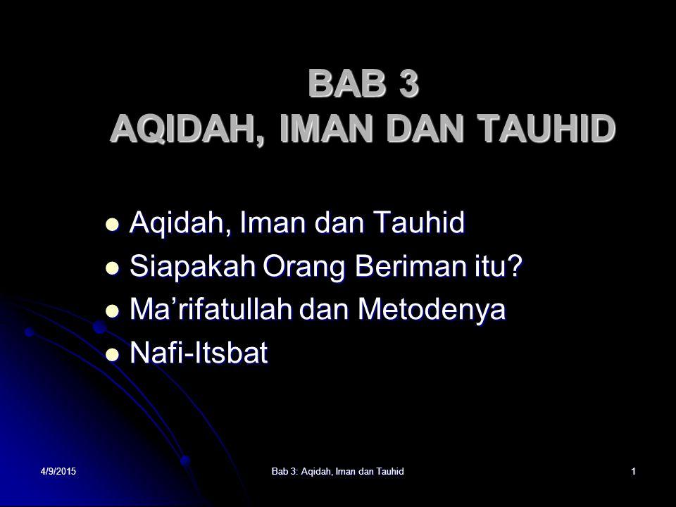 BAB 3 AQIDAH, IMAN DAN TAUHID