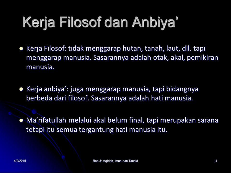 Kerja Filosof dan Anbiya'