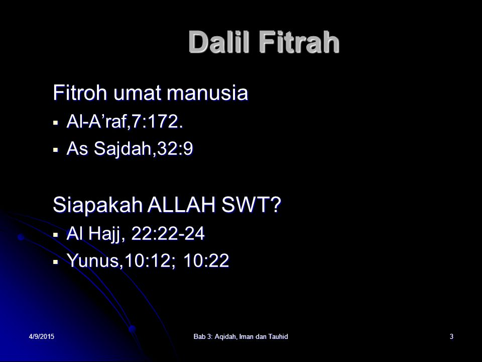 Bab 3: Aqidah, Iman dan Tauhid