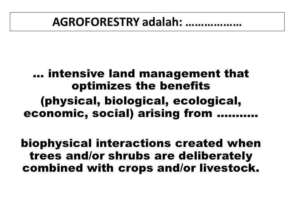 AGROFORESTRY adalah: ………………