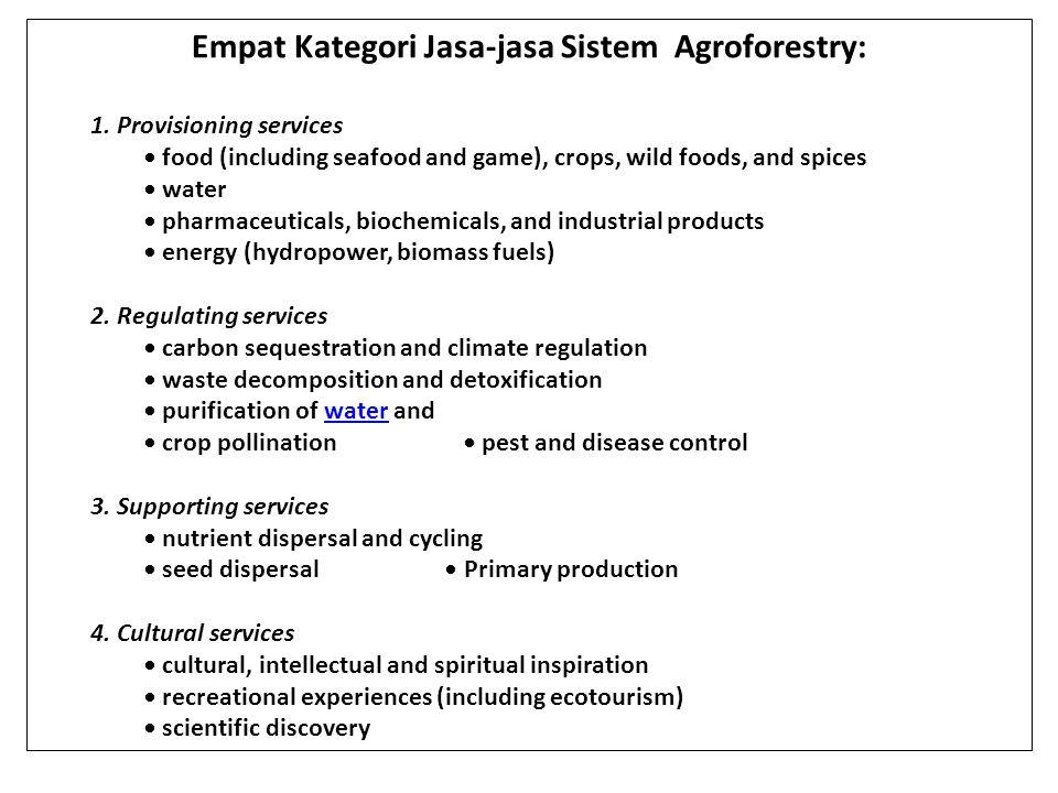 Empat Kategori Jasa-jasa Sistem Agroforestry: