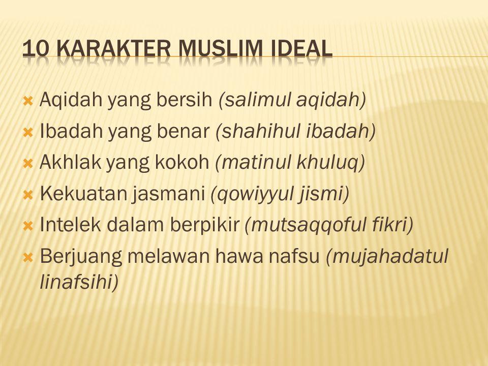 10 KARAKTER MUSLIM IDEAL Aqidah yang bersih (salimul aqidah)